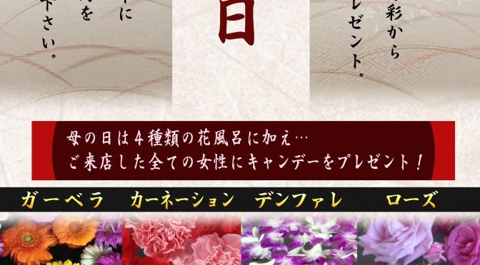 母の日の彩湯(花風呂)